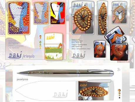 дизайн инкрустации аксессуаров кристаллами  Swarovski и дизайн росписи-миниатюры
